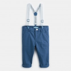 Canvas pants and suspenders...
