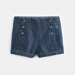 Sailor-front denim shorts -...