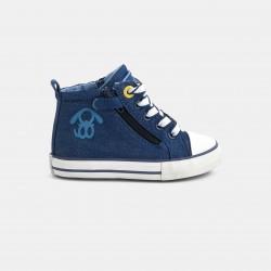 High-top denim sneakers...