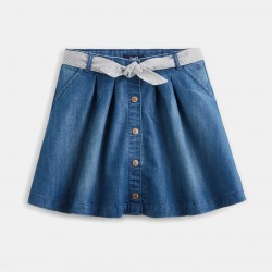 Snap-fastened denim skirt -...
