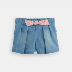 Denim shorts with pleats -...